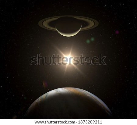 Great Conjunction: Jupiter and Saturn meet on solstice. Conjunction of Jupiter and Jaturn. Planet of solar system. Gas giants planets. Elements of this image furnished by NASA.  Stockfoto ©