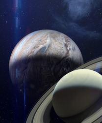Great Conjunction: Jupiter and Saturn Meet on Solstice. Rare Jupiter-Saturn Conjunction. Conjunction of jupiter and saturn in aquarius. Elements of this image furnished by NASA.