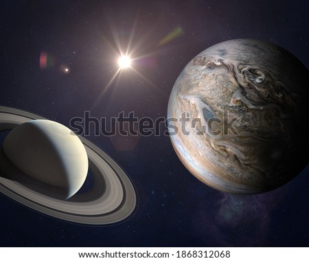 Great Conjunction: Jupiter and Saturn Meet on Solstice. Rare Jupiter-Saturn Conjunction. Elements of this image furnished by NASA.  Stockfoto ©
