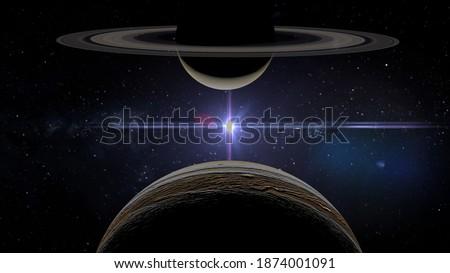 great conjunction jupiter saturn,retrograde  3d rendering illustration Stockfoto ©