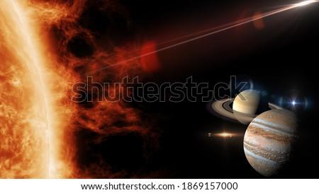 great conjunction of jupiter and saturn 3d rendering illustration Stockfoto ©