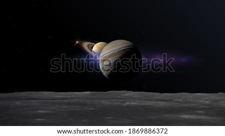 great conjunction of jupiter and saturn seen from one of jupiter moons 3d rendering illustration Stockfoto ©