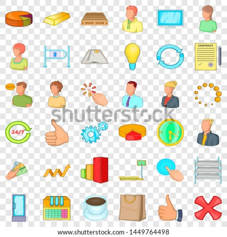 Great corporation icons set. Cartoon style of 36 great corporation icons for web for any design