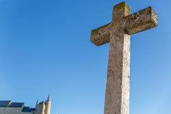 Great cross in front of the Church of the True Cross, Romanesque style, Spain