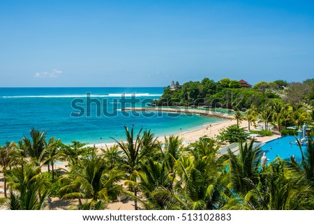 Great day on the Nusa Dua beach with view on temple Stok fotoğraf ©