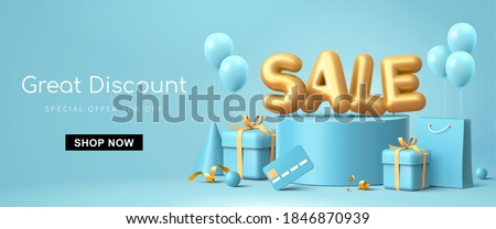 Great discount sale banner design in 3d illustration on blue background, sale word balloon on podium with credit card, shopping bag and gift design elements