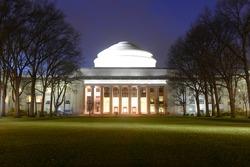Great Dome of Massachussets Institute of Technology (MIT) at night, Cambridge, Massachusetts MA, USA.