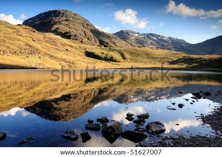 Great End reflected in Styhead Tarn, English Lake District