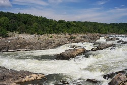 Great Fall Park, Potomac river between Maryland and Virginia: view on the running water and torrent (May 2019)