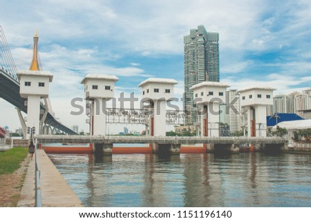 Great floodgate is named The Khlong Lat Pho Floodgate Project that to built for drain floodwater and tackle flooding in Chao Phraya River at Samutprakarn Province, Thailand.