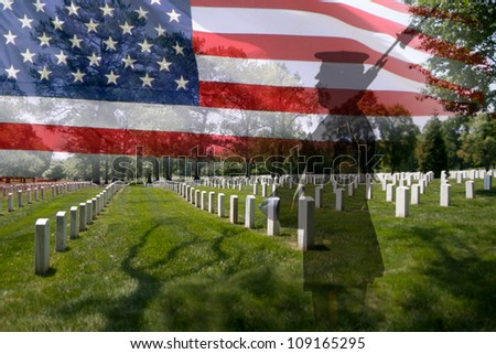 Great for fourth of July, Memorial Day, labour day or flag day. Grave stones in a row with a soldier silhouette and an US National flag.