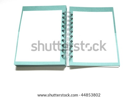 Great green and white notebook in white background