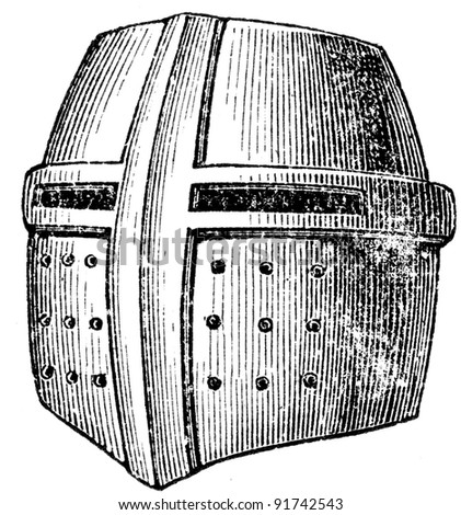 great helm or heaume, also called pot helm, bucket helm and barrel helm - an illustration of the encyclopedia publishers Education, St. Petersburg, Russian Empire, 1896