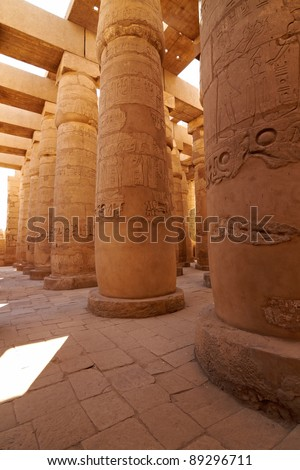 Great hypostyle hall in ancient temple of Amun at Karnak, Egypt
