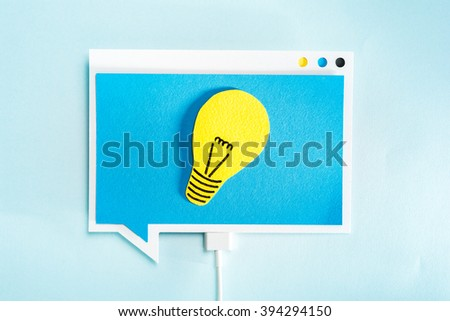 Great idea or thinking concept. Light bulb on blue speech bubble. Creative concept. #394294150