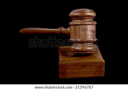 great image of a judges or auctioneers gavel on black background
