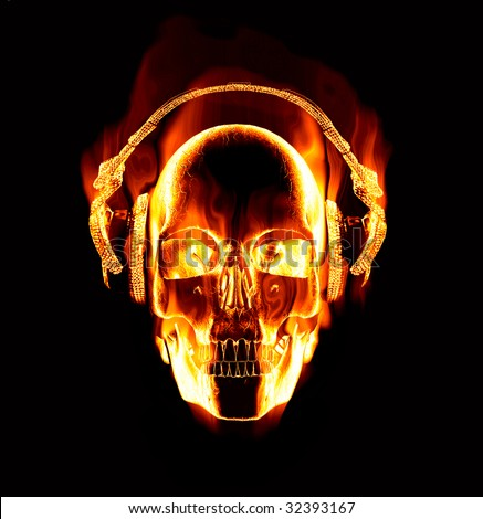 Great Image Of Flaming Skull Wearing Headphones Stock Photo 32393167