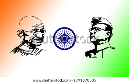 Great Indian Independence Leader Netaji Subhas Chandra Bose and Mahatma Gandhi Sketch Illustration. Hand Drawn. Silhouette. Tribute. India Independence day background Banner. Graphic. 3D. Print. Edit.