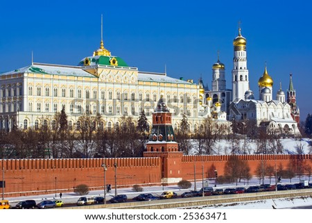Great Kremlin Palace and Cathedral of the Archangel Michael - stock photo