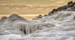 Great Lakes Deep Freeze. Frozen seascape on the shores of Lake Huron in Lexington, Michigan.