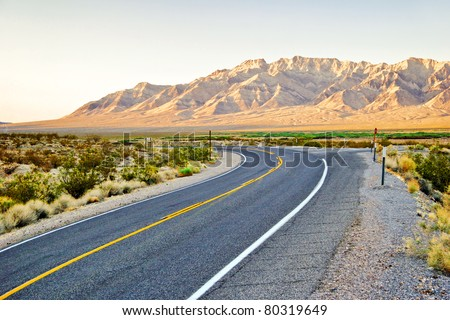 Great landscape with road in Nevada state. USA