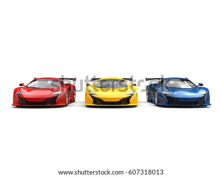 Great modern sports super cars in red, blue and yellow - 3D Illustration #607318013