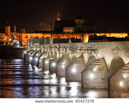 Great mosque or mezquita at night in Cordova, Spain