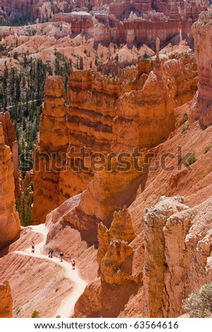 Great natural spires at Bryce Canyon National Park which is located in southwestern Utah in the United States