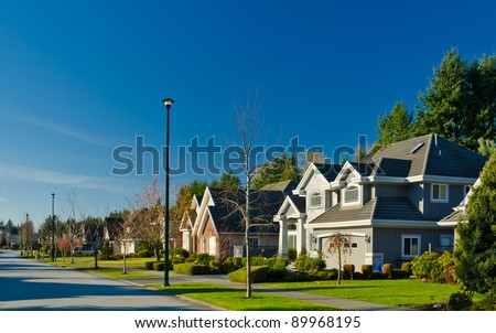 Great neighborhood. A homes  in suburbs at fall time in the north America