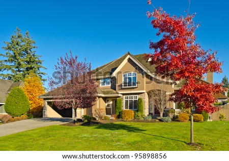 Great neighborhood. Homes in a suburb at Fall in the north America