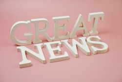 Great News word alphabet letters on pink background