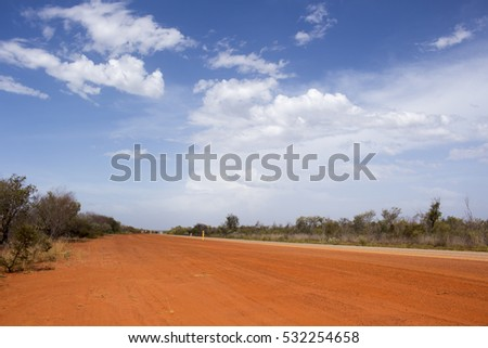 Great Northern Highway ,a sealed road with  length of 3,200 kilometres (2,000 miles)  the longest highway in Australia , crossing  Roebuck Plains between Broome and Port Hedland , Western  Australia. #532254658