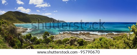 Great ocean road in Australia scenic view at blue bay with fishing under blue sky idyllic picture