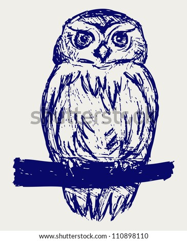 Great Owl. Sketch - stock photo