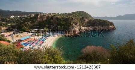 Great Pebble Beach ( Turkish; Buyuk Cakil Plajı ) in Kas Town of Turkey Stok fotoğraf ©
