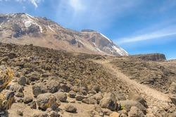 Great Penck and Little Penck Glaciers on the Kibo cone, Shira Plateau, Machame-Mweka Route, Kilimanjaro National Park, near Arusha, Tanzania, Africa