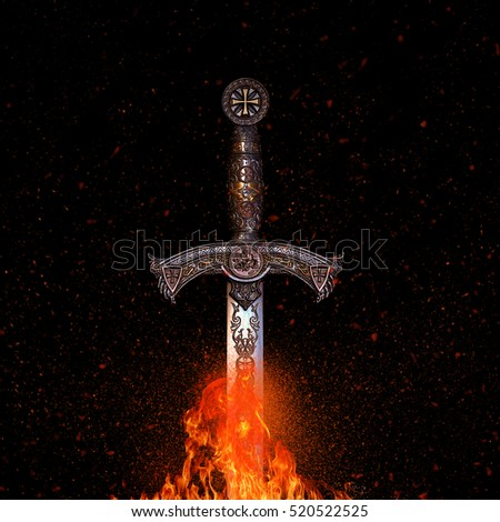 Great photo of sword on fire #520522525