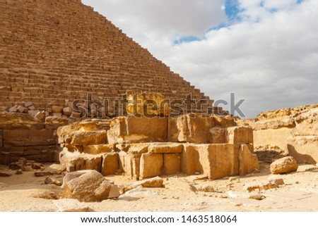 Great Pyramid of Giza (also known as the Pyramid of Khufu or the Pyramid of Cheops) is the oldest and largest of the three pyramids in the Giza pyramid complex