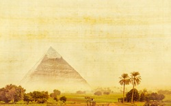 Great pyramid of Khafre in Egypt. Egyptian landscape with ancient pyramid of Chephren on old papyrus texture. Panorama of oasis with palm trees and place for your text about of ancient civilization.