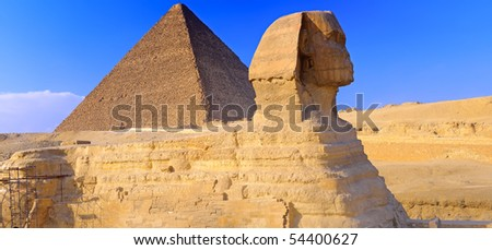Great Pyramid of Pharaoh Khufu, located at Giza and the Sphinx. Egypt. Panorama