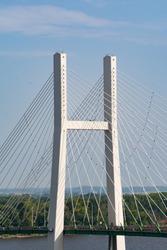 Great River Bridge over the Mississippi River in Burlington, Iowa.