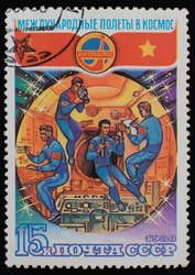 great russian cosmonauts postage stamp