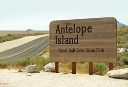 Great Salt Lake - Antelope Island State Park Entrance Sign. Utah, USA.