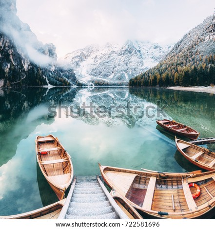Great scene the alpine lake Braies (Pragser Wildsee). Location place Dolomite national park Fanes-Sennes-Braies, Italy. Europe. Retro and vintage style. Instagram effect. Explore the world's beauty.
