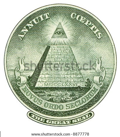 Great Seal of United States from reverse of one dollar bill. Isolated over white.