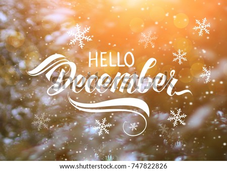 Great season texture with winter mood. Nature december background with hand lettering