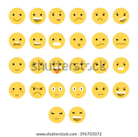 Great set of 26 yellow emotions insulated with transparent shadow.  Emoji  for Web.  Anger and compassion. Laughter, tears. Smile sadness surprise. Happiness  fear.