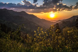 Great Smoky Mountain Sunrise. Sunrise over the Smoky Mountains at the Newfound Gap Overlook in the Great Smoky Mountains National Park on the border of Tennessee and North Carolina.