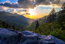 Great Smoky Mountain sunset landscape at the Newfound Gap overlook on the border of North Carolina and Tennessee