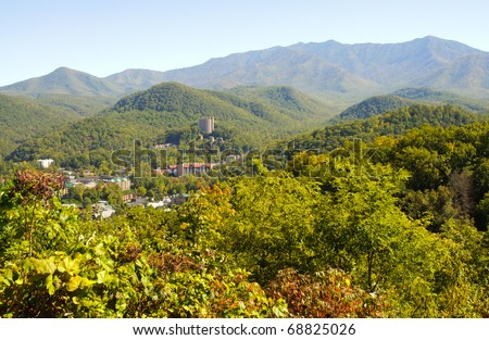 Great Smoky Mountains in early fall - stock photo